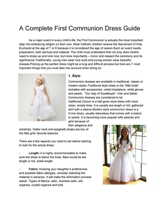 My Publications A Complete First Communion Dress Guide Page 4 Created With Publitas Com