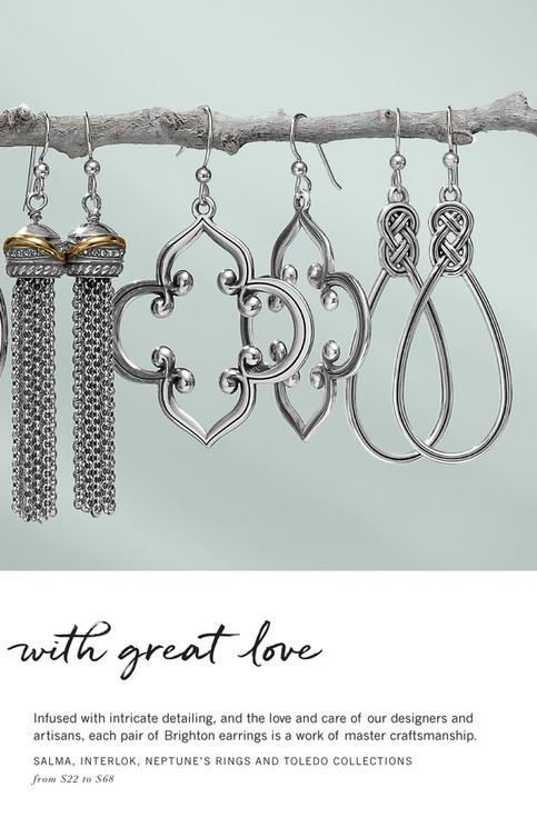 Brighton Shine Sparkle Smile Toledo Statement French Wire Earrings Silver