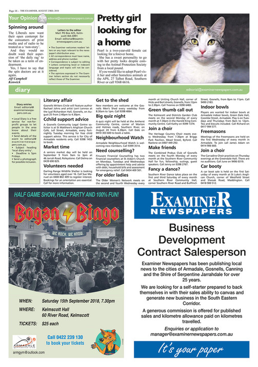 Examiner Newspapers - Armadale Examiner Newspapers 23rd August 2018