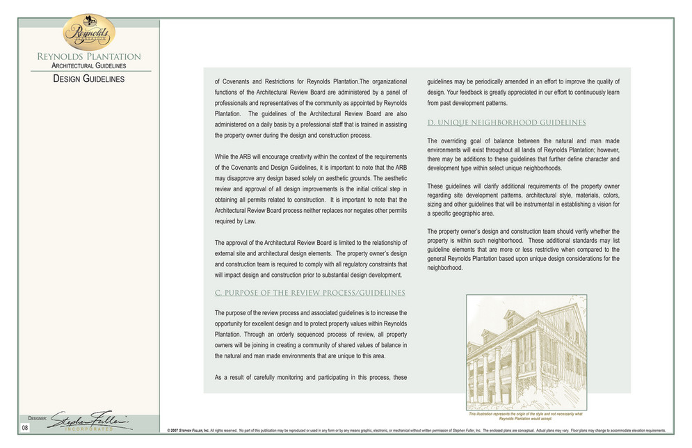 Reynolds Plantation ARCHITECTURAL GUIDELINES DESIGN GUIDELINES Of Covenants  And Restrictions For Reynolds Plantation.The Organizational