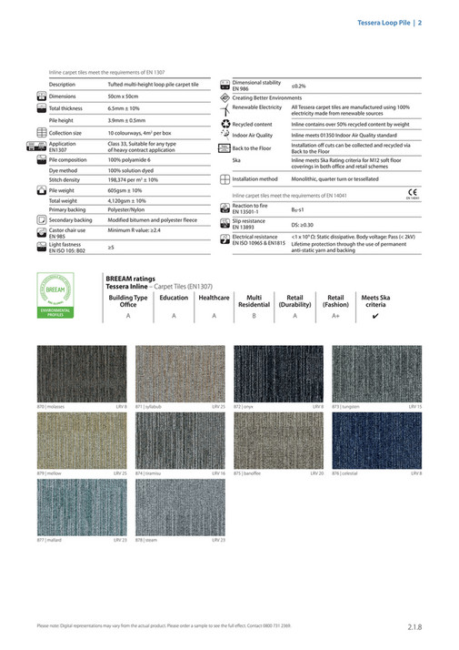 Tessera Loop Pile 2 Inline Carpet Tiles Meet The Requirements Of En 1307 1