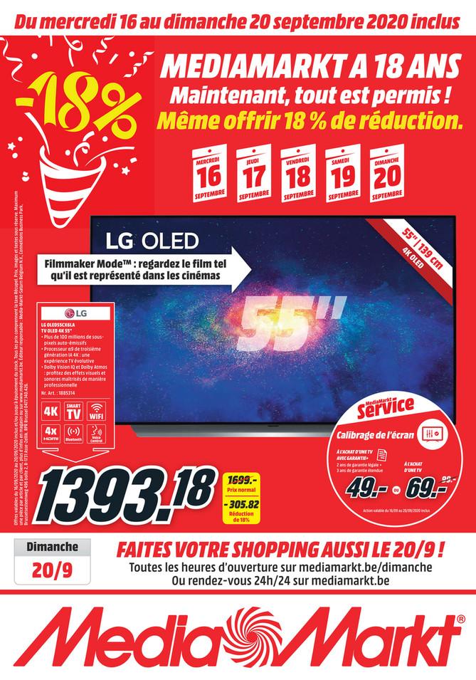 Folder MediaMarkt du 16/09/2020 au 20/09/2020 - Promotions de la semaine 38