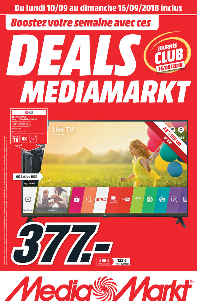 Folder MediaMarkt du 10/09/2018 au 16/09/2018 - Promotions de la semaine 37