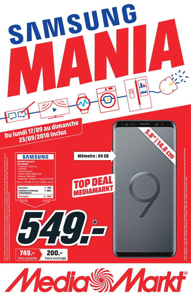 Folder MediaMarkt du 15/09/2018 au 23/09/2018 - Promotions de la semaine 38