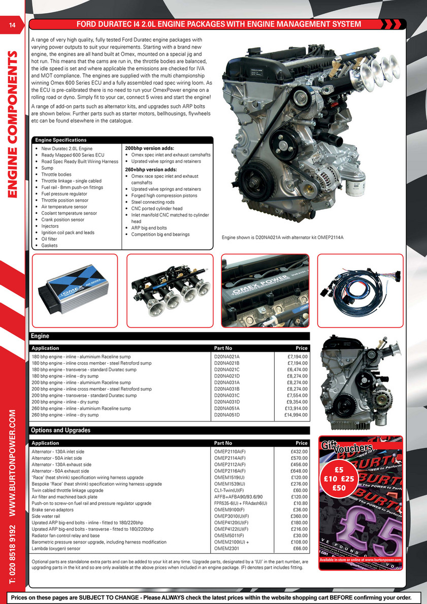Burton Power 2018 Catalogue Pages Page 14 Created With Ford 260 Ignition Wiring Duratec I4 20l Engine Packages Management System Components A Range