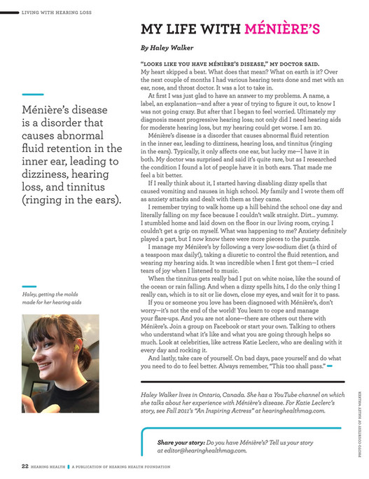 Hearing Health Foundation - Hearing Health Fall 2016 Issue - Page 24