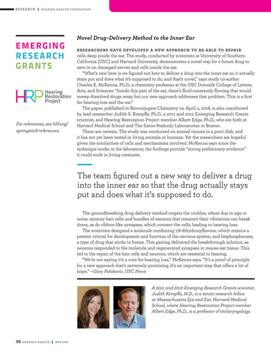 Hearing Health Foundation - Hearing Health Summer 2018 Issue