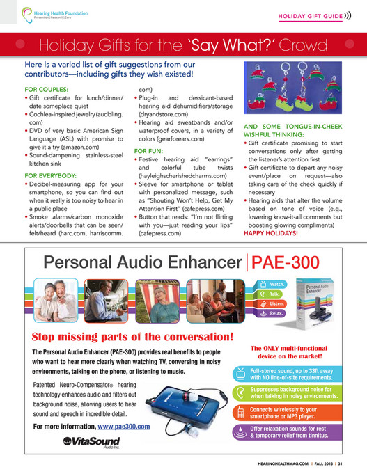 Hearing Health Foundation - Hearing Health Fall 2013 Issue - Page 32