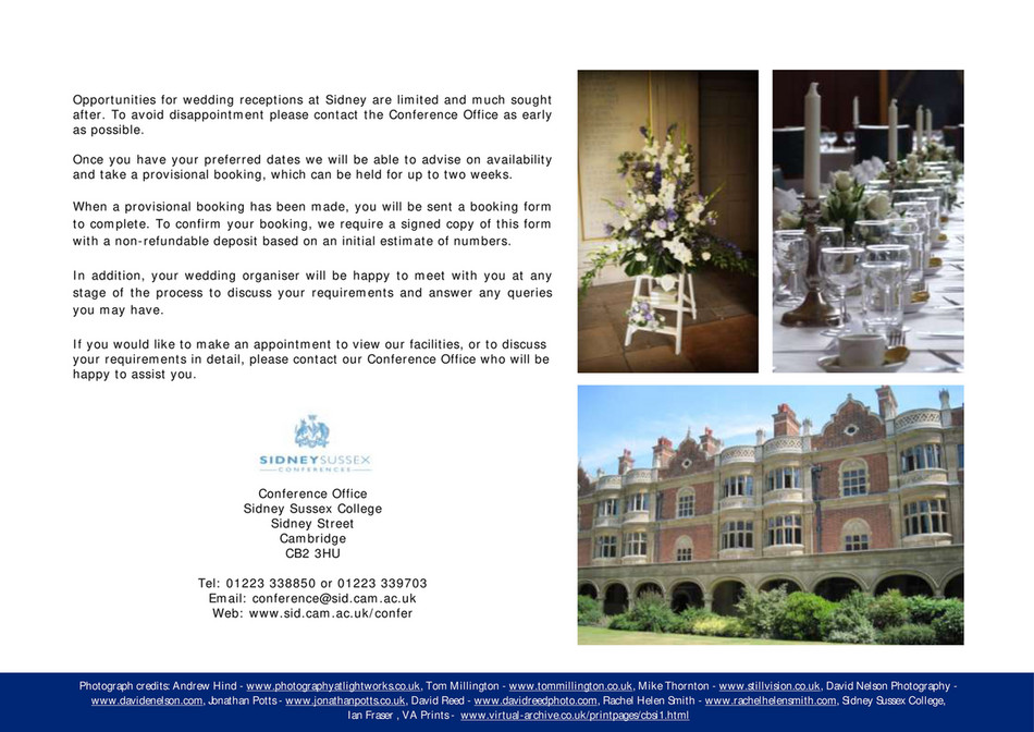 Sidney Sussex College - WeddingBrochure 2017 - Page 15 - Created