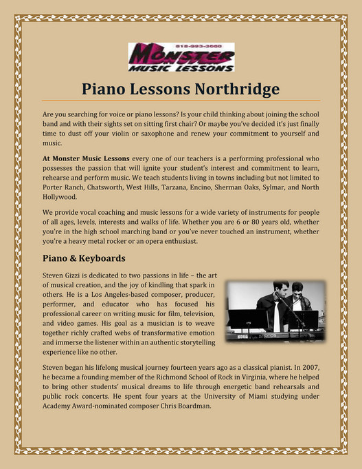 monstermusiclessons - Piano Lessons Northridge - Page 1 - Created