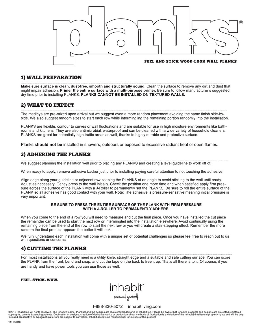 Inhabit   Inhabit Plank Installation Instructions   Page 1   Created With  Publitas.com