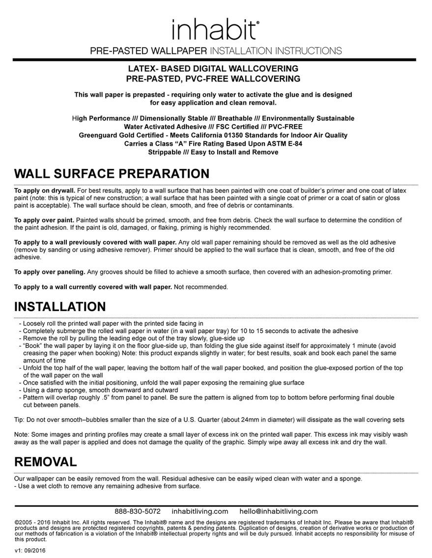 Inhabit Inhabit Pre Pasted Wallpaper Installation