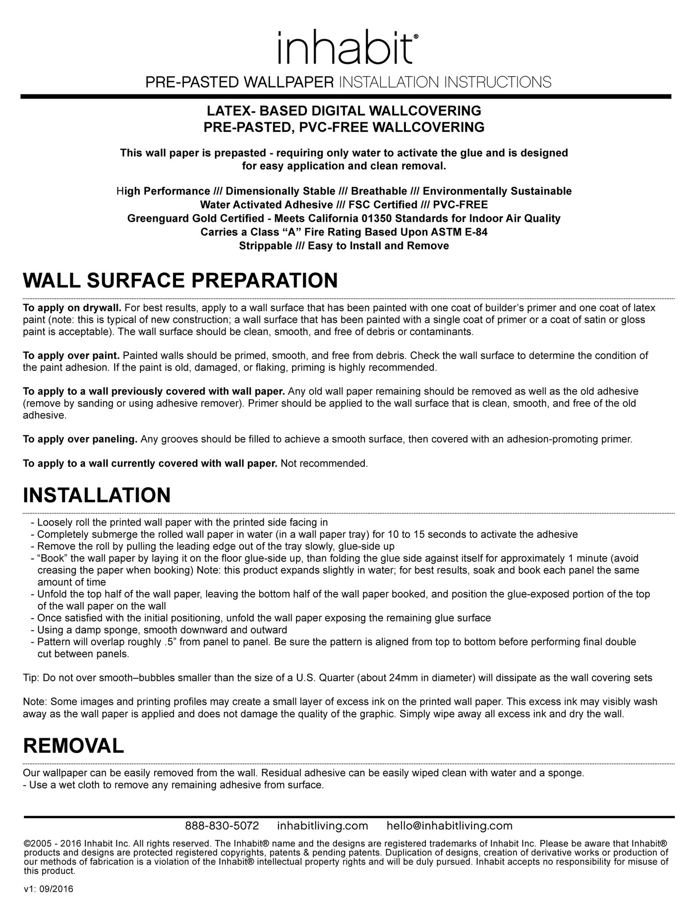Inhabit Inhabit Pre Pasted Wallpaper Installation Instructions