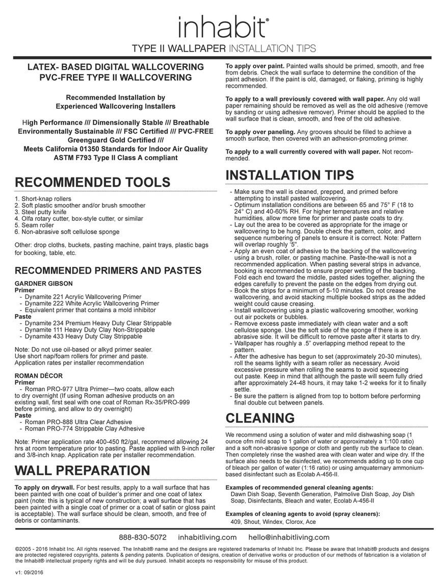 Inhabit - Inhabit Type II Wallpaper Installation Instructions - Page