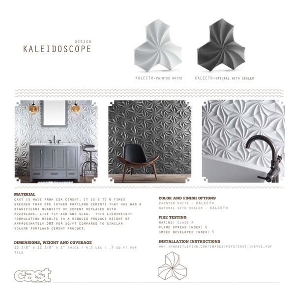Design KALEIDOSCOPE KALCCTW PAINTED MATERIAL Cast Is Made From Csa Cement.  It Is 2 Inhabitliving.com ...