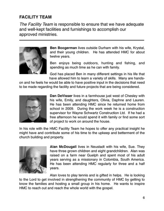 Hanover Missionary Church - HMC Slate Booklet Fall 2015 - Page 8-9
