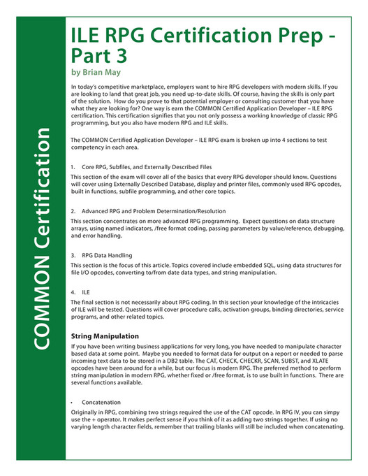 COMMON - COMMON ILE RPG Certification Exam Study Guide - Page 42-43