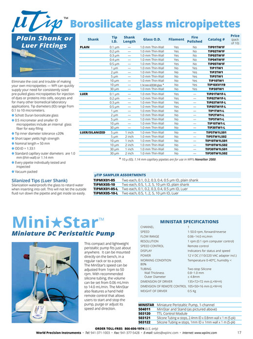 World Precision Instruments - 2016-Microinjection Catalog - Page 18-19
