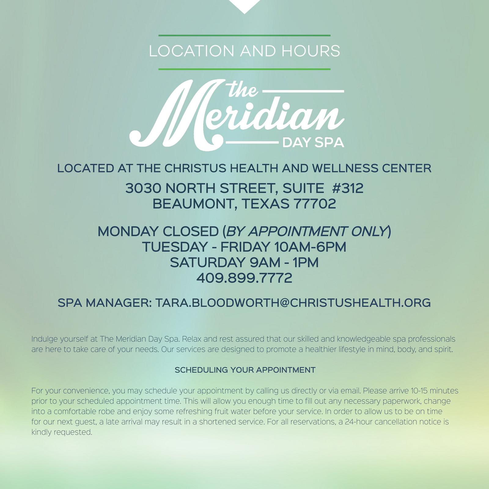 CHRISTUS HWC - The Meridian Day Spa Brochure - Page 1