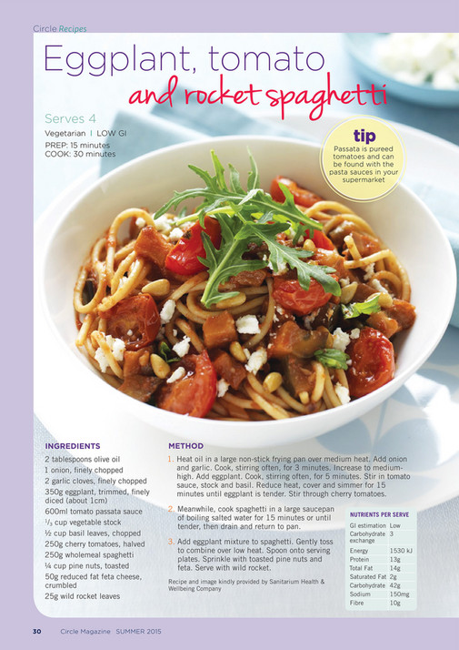 Diabetes australia circle nsw online page 32 33 created with circle recipes diabetes nsw message from the ceo eggplant tomato serves 4 and rocket spaghetti forumfinder Image collections
