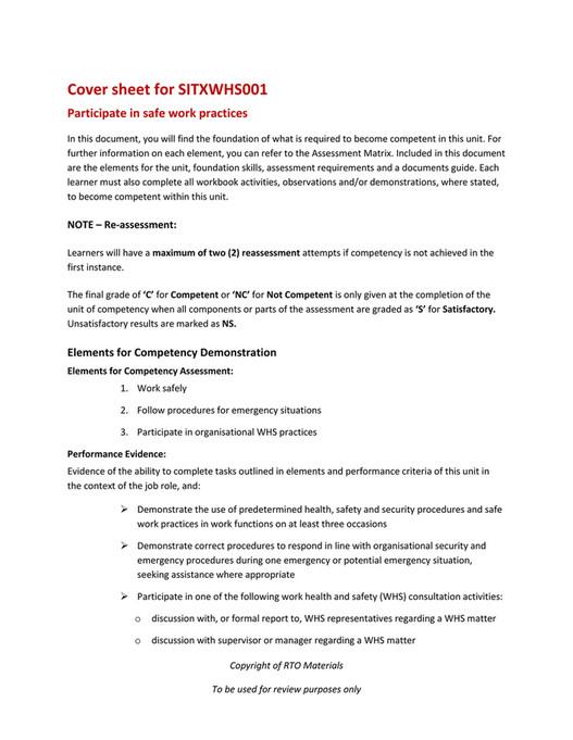 RTO Materials - SITXWHS001 Cover Sheet V10 - Page 1