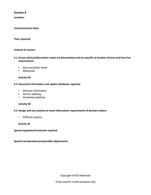 RTO Materials - BSBINM601 Session Plan V1 0 - Page 10-11