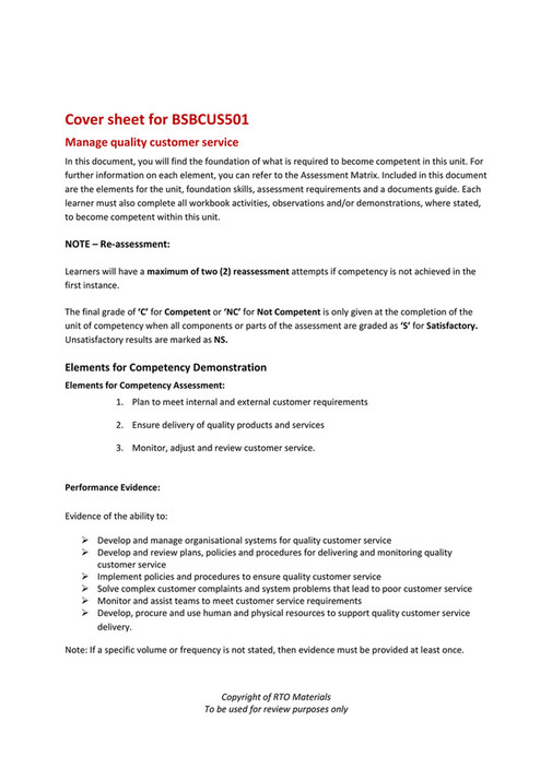 RTO Materials - BSBCUS501 Cover Sheet V10 - Page 1
