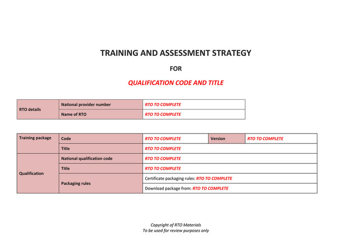Training And Essment Strategy For Qualification Code Le Rto Details Package National Provider