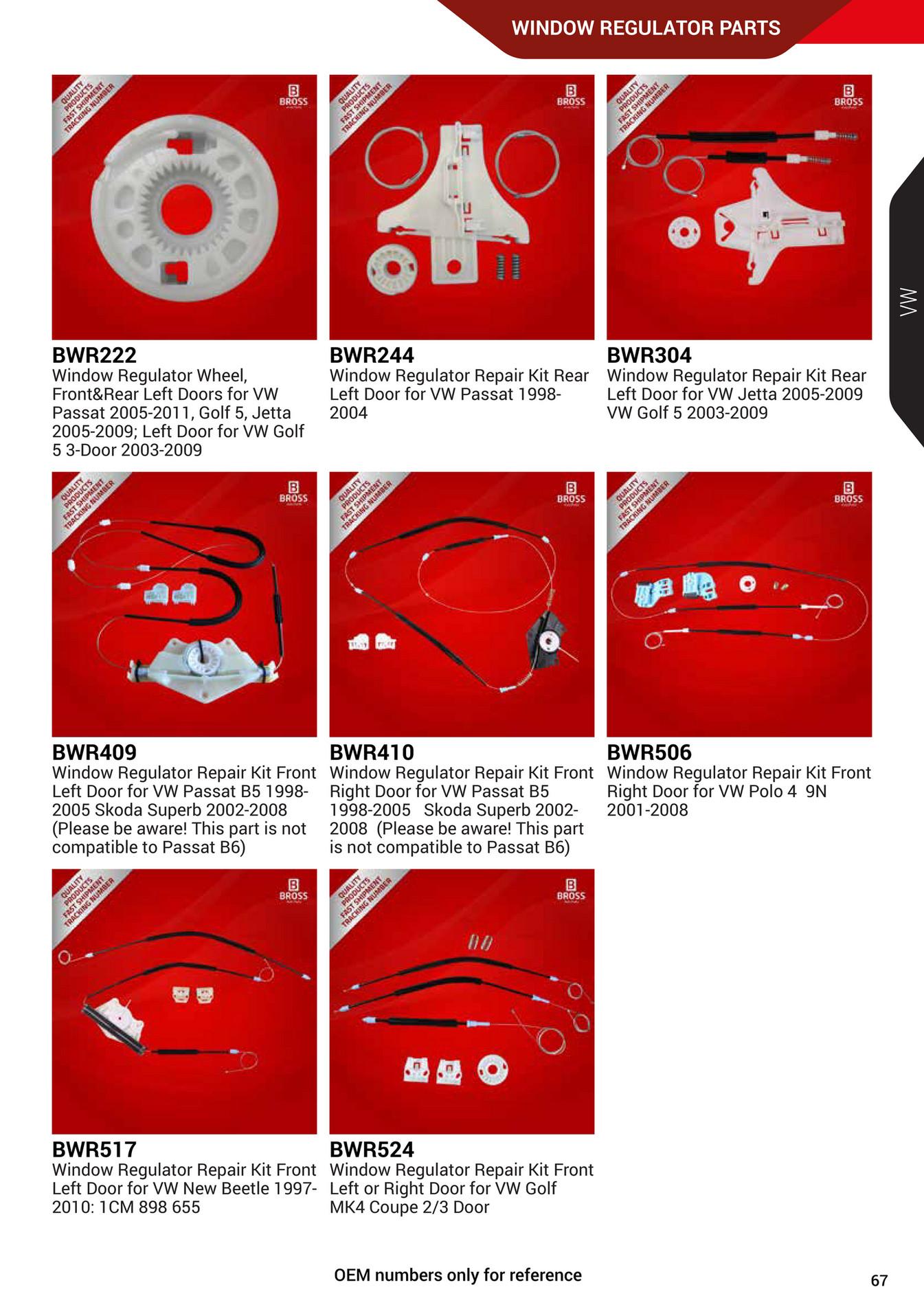 Window Regulator Repair Kit Front Left Door for VW Passat B5 1998-2005