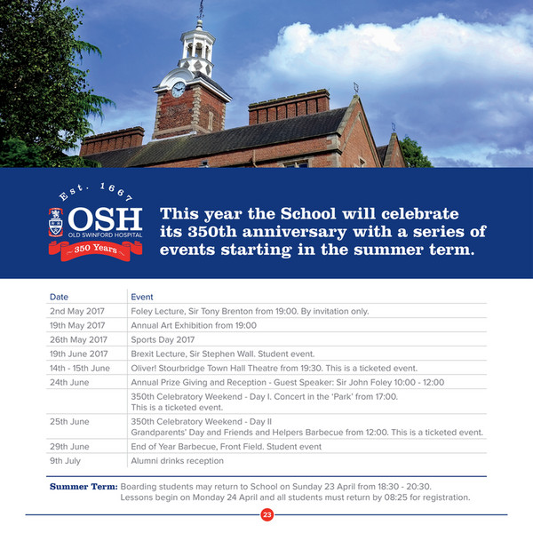 Old swinford hospital final lent osh newsletter page 22 23 this year the school will celebrate its 350th anniversary with a series of events starting in stopboris Choice Image