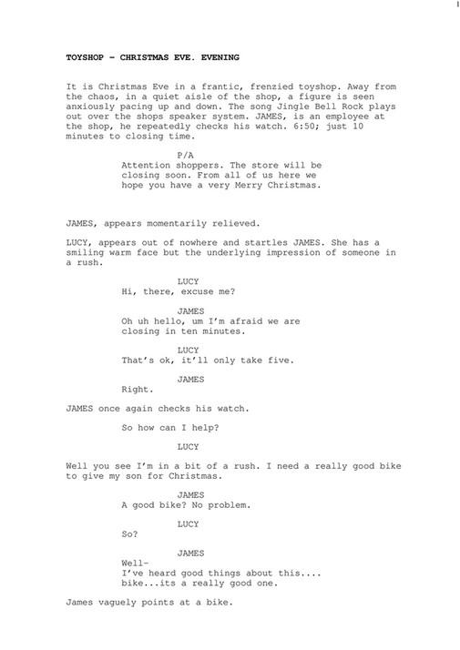 My publications - The Bikesalesman [Comedy Sketch Script] - Page 1