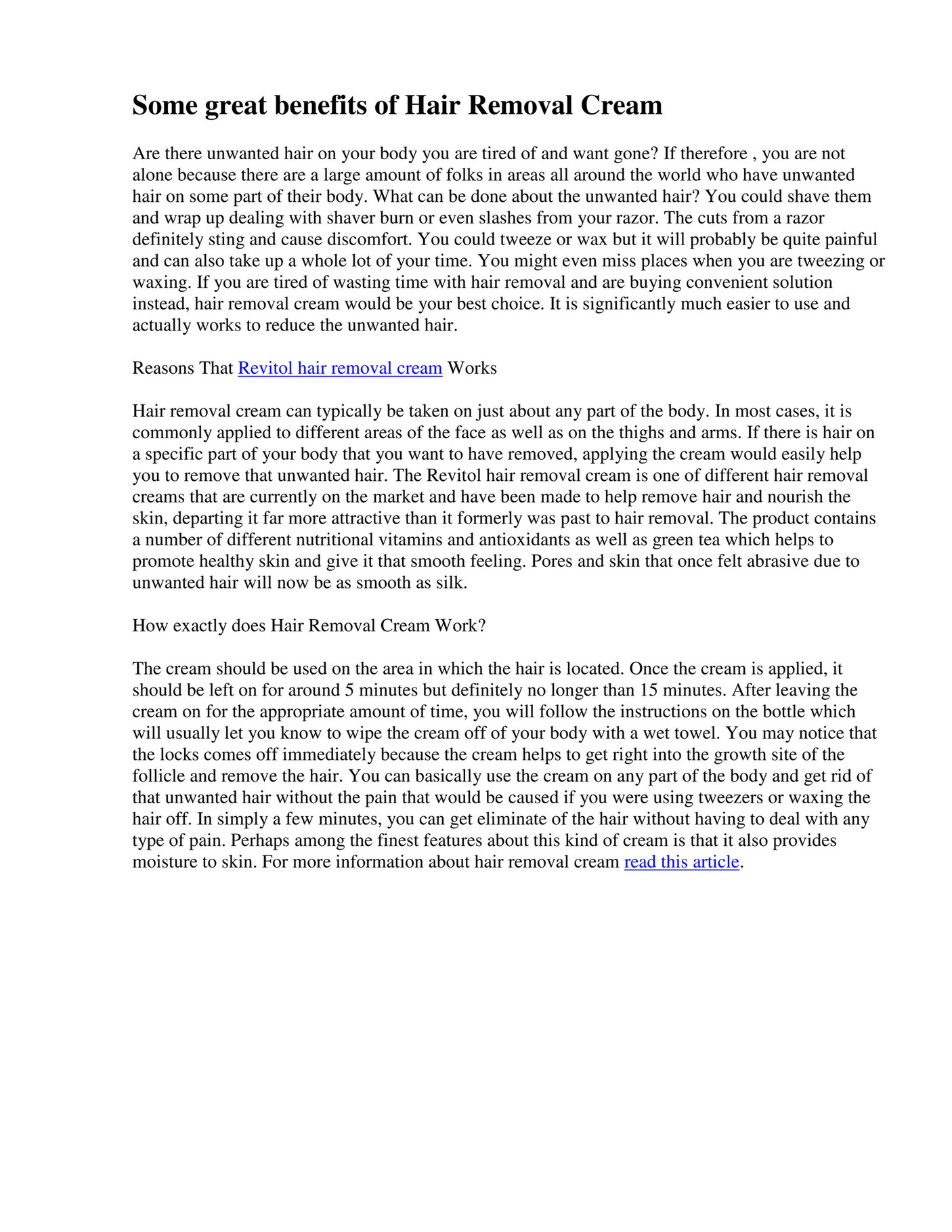 My Publications Revitol Hair Removal Cream Page 1 Created
