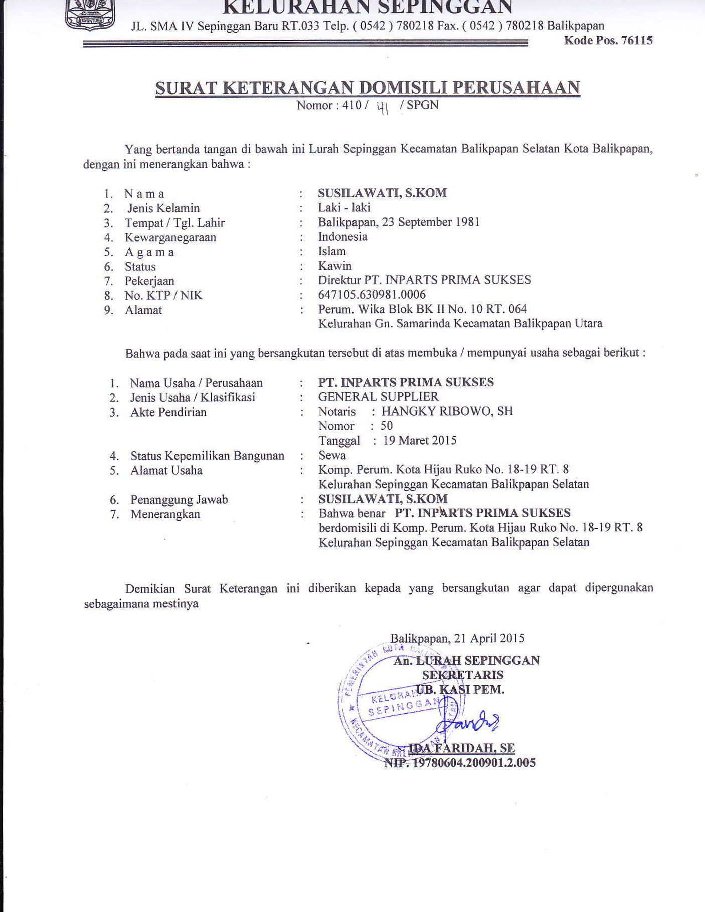 My Publications Surat Keterangan Domisili Inparts Page 1