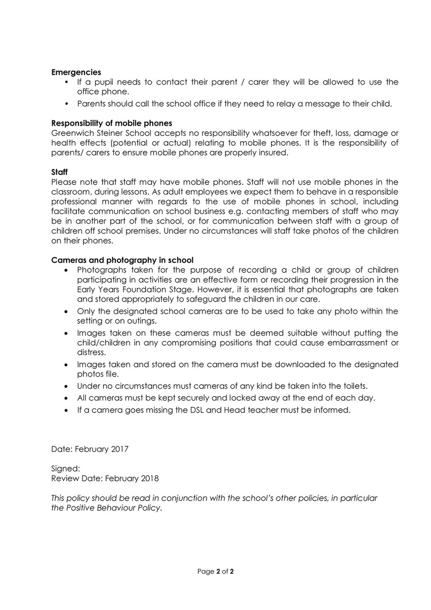 Greenwich Steiner School - GSS mobile_phone_policy_feb_2017 - Page 1