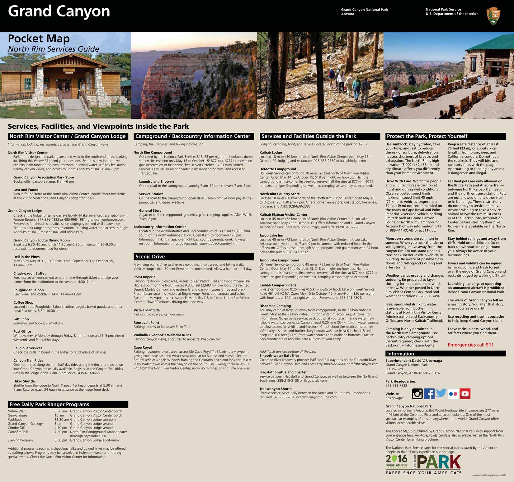 2du Grand Canyon North Rim Pocket Map Page 1 Created