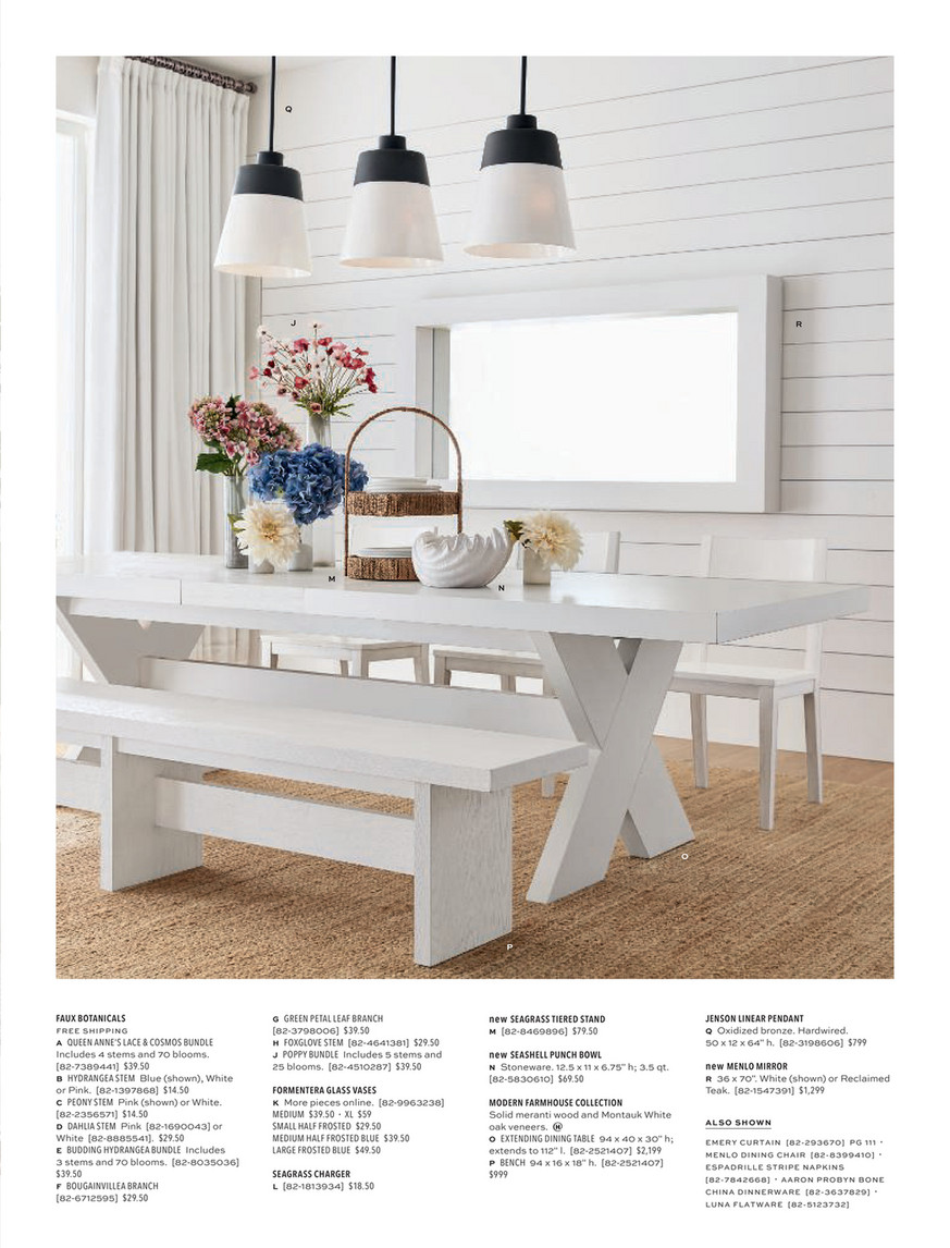 Pottery Barn Pb Summer 2020 Ecatalog Modern Farmhouse Extending Dining Table Montauk White 94 112 L