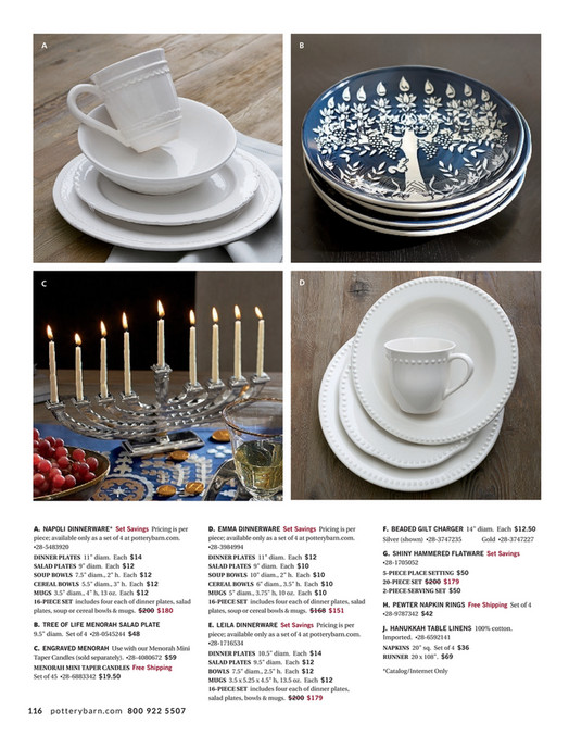 A B C D A. NAPOLI DINNERWARE* Set Savings Pricing is per piece; Happy HANUKKAH ...  sc 1 st  Publitas & Pottery Barn - Holiday 2016 D3 - Tree of Life Menorah Salad Plate ...