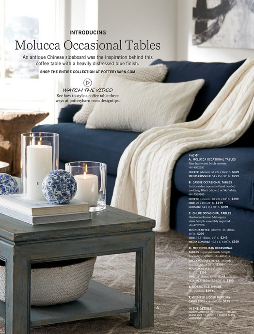 Pottery Barn Spring D Molucca Coffee Table Distressed Blue - Pottery barn cassie coffee table