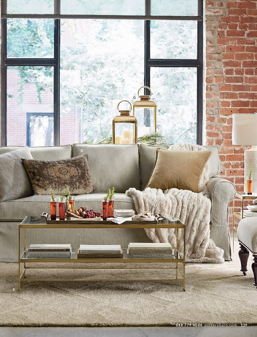 - Pottery Barn - Spring 2017 D2 - Leona Round Coffee Table, Brass