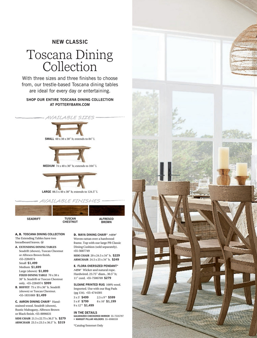 Pottery Barn Summer 2017 D1 Toscana Dining Table