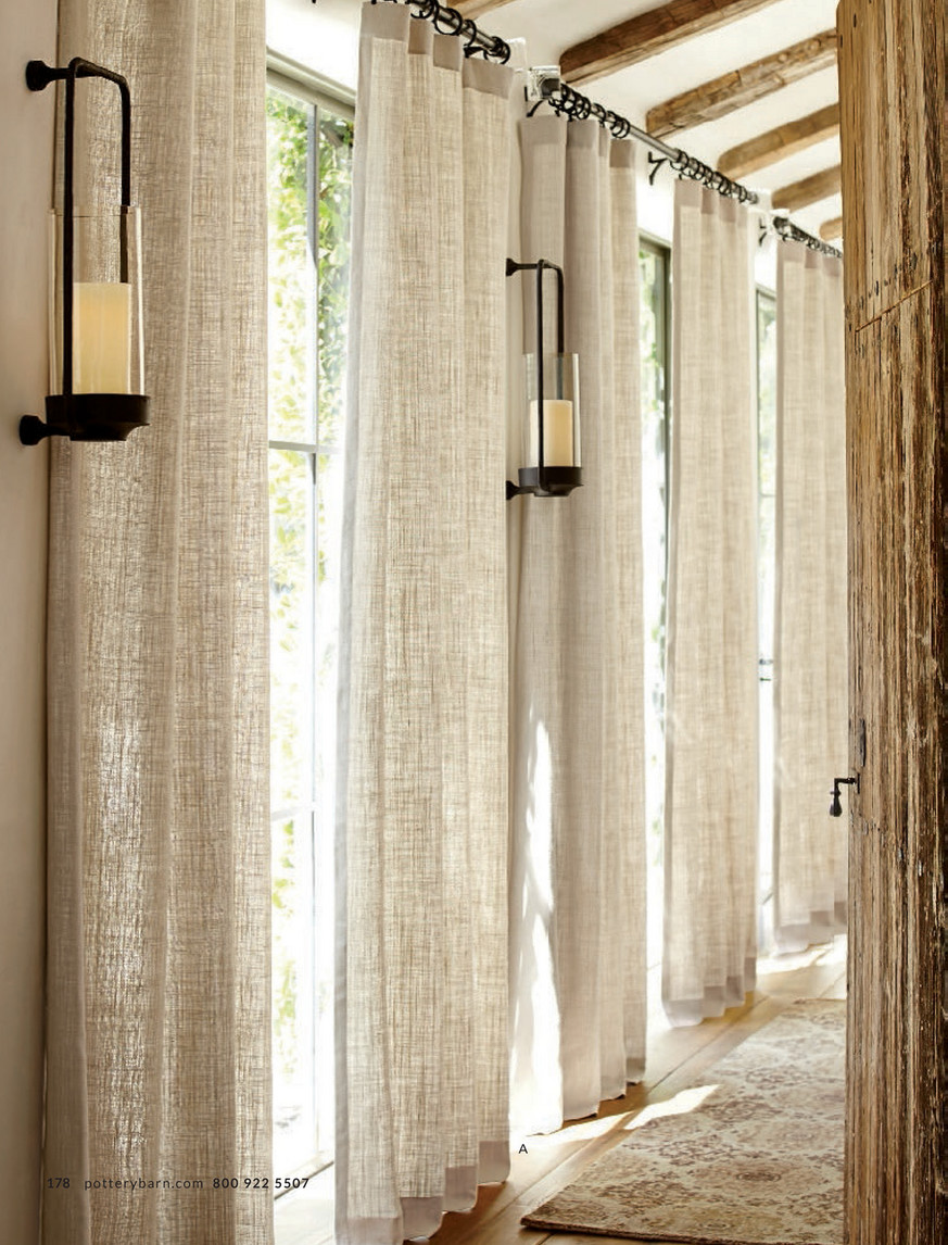 Picture of: Pottery Barn Summer 2017 D1 Emery Border Linen Cotton Rod Pocket Curtain 50 X 84 Oatmeal Ivory