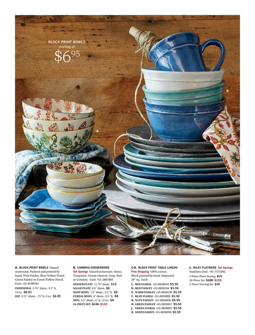 Pottery Barn - Summer 2017 D1 - Cambria Dinnerware, 16-Piece Cereal ...