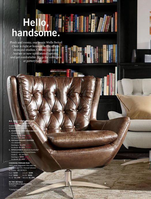 Hello, Handsome. Plush And Roomy, Our Iconic Wells Swivel Chair Is Right At  ...