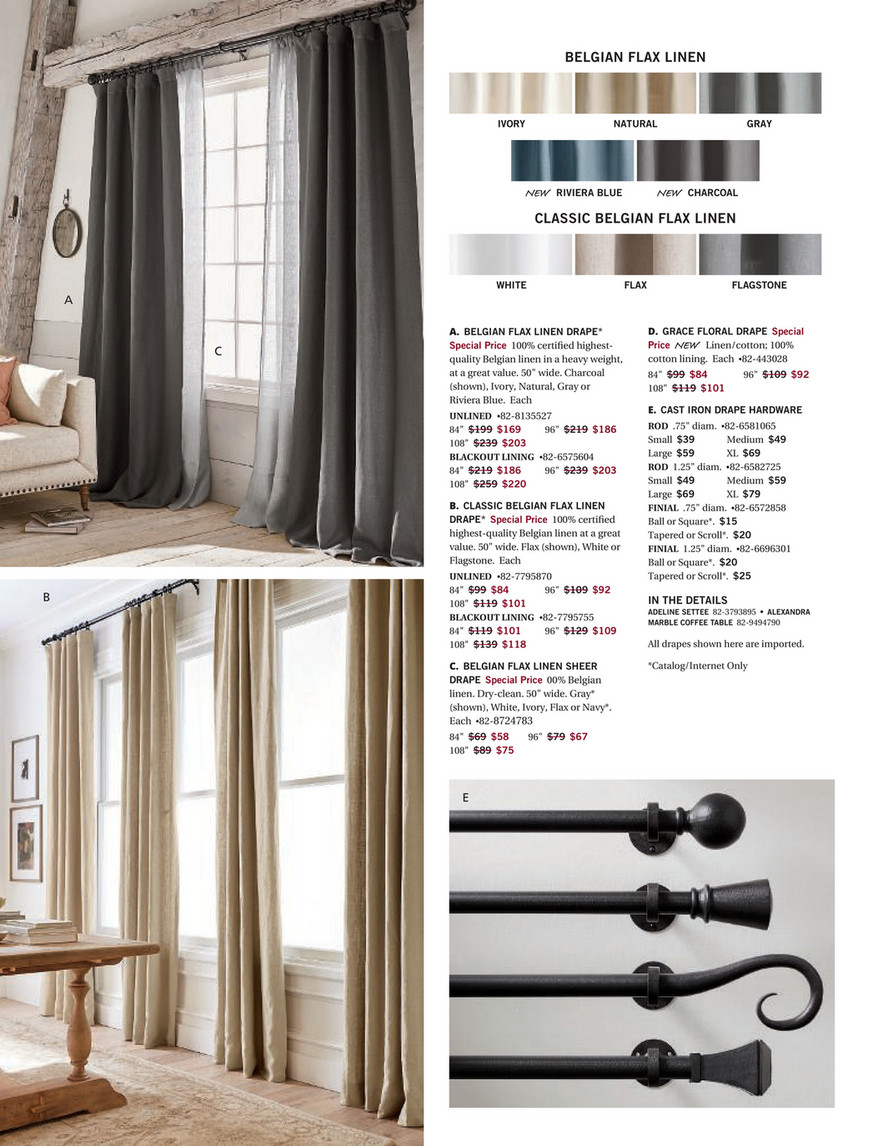 Pottery Barn Holiday 2017 D1 Belgian Flax Linen Rod Pocket Curtain Cotton Lining 50 X 84 Dark Flax