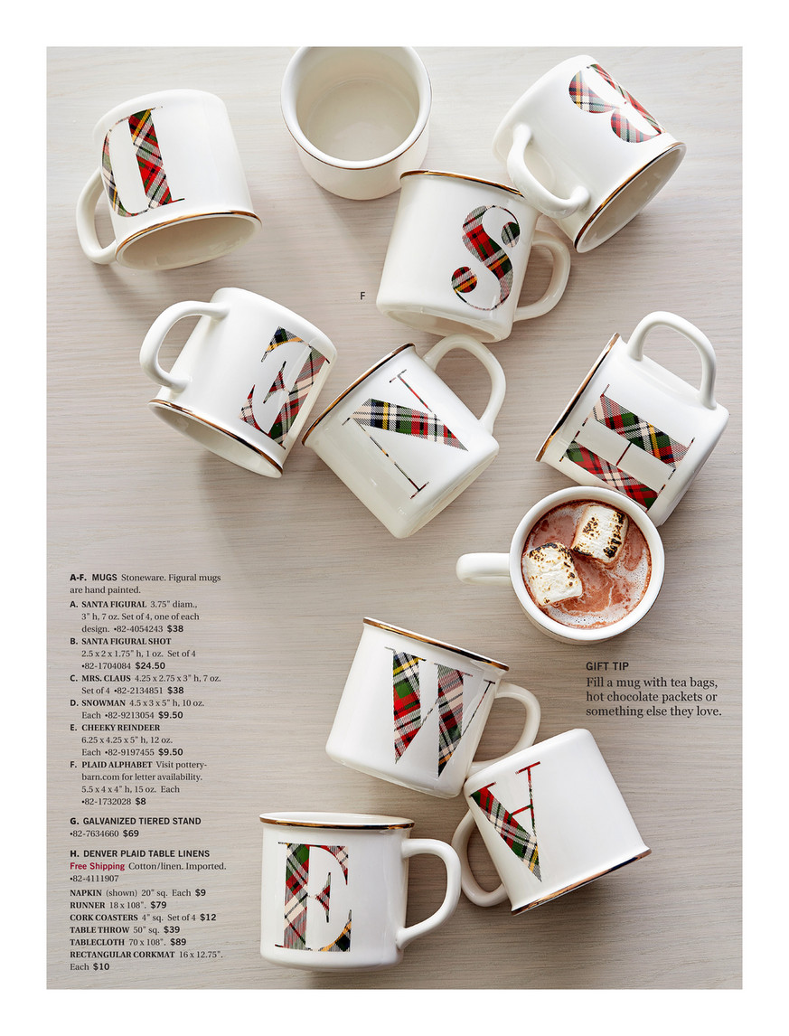 Pottery Barn Holiday 2017 Gift Guide Santa Claus Ceramic Mugs Set Of 4 Assorted