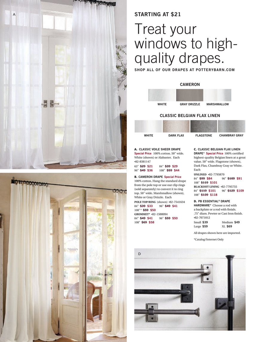 Pottery Barn Spring 2018 D1 Belgian Flax Linen Rod Pocket Curtain Cotton Lining 50 X 84 Flagstone