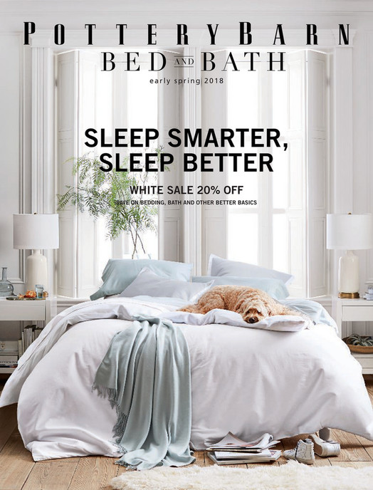 online catalog bed \u0026 bath early spring 2018 pottery barnearly spring 2018 sleep smarter, sleep better white sale 20% off save on bedding