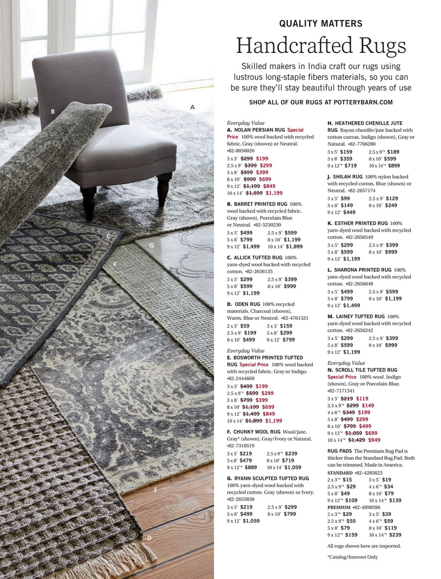 Pottery Barn Winter 2018 D2 Allick Tufted Rug 8 X 10