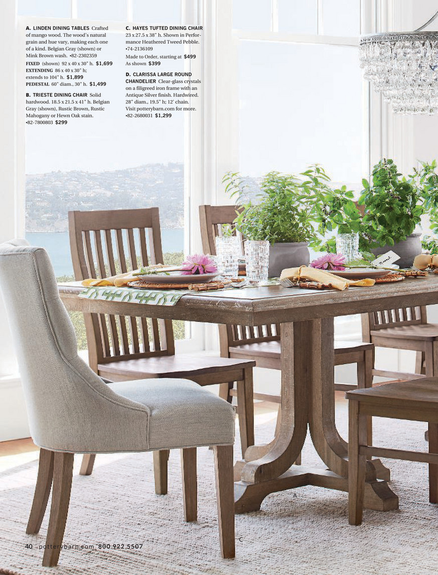 Pottery Barn - Winter 5 D5 - Linden Extending Dining Table