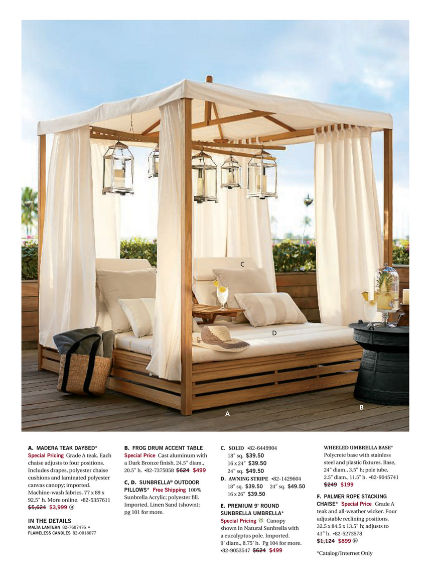 - Pottery Barn - Outdoor 2018 D1 - Madera Teak Daybed (Double Chaise